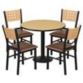 "Cafe au Lait Oversized Chairs and 36"" Round Standard Height Table Set, 44609"