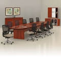 Contemporary 18' Conference Table with Fourteen Chairs, 45046