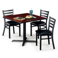 "36""W Square X-Base Breakroom Table with Four Chairs, 46003"