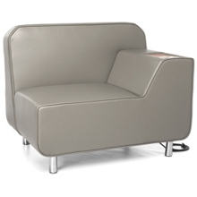 Left Arm Polyurethane Lounge Chair with Inlay Table and Electrical Outlet, 53012
