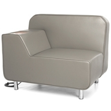 Right Arm Polyurethane Lounge Chair with Inlay Table and Electrical Outlet, 53020