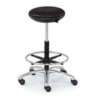 Polyurethane Adjustable-Height Stool with Footring and Memory Foam Seat, 50138