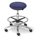 Fabric Mid Range Rolling Stool with Footring and Memory Foam Seat, 50015