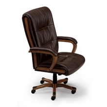 brown leather big man office chair with wood frame