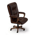Wood Trimmed Big and Tall Executive Faux Leather Chair, CD03817