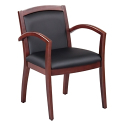 Expressions Full Back Faux Leather Wood Frame Chair, 52017