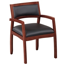 Expressions Half Back Faux Leather Wood Frame Chair, 52018