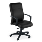 Leather High Back Chair on Wheels, 52119