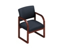Designer Fabric Sled Base Open Back Conference Chair with Arms, 52149