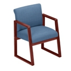 Heavy-Duty Vinyl Sled Base Full Back Conference Chair with Arms, 52155