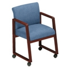 Heavy-Duty Vinyl Sled Base Full Back Conference Chair with Casters, 52156