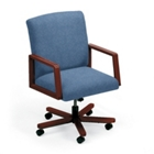 Heavy-Duty Vinyl Executive Full Back Swivel Chair, 52161