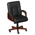 Black Leather Executive Mid Back Chair, 55469