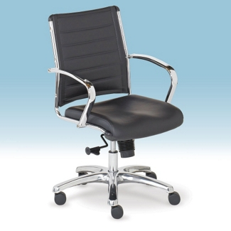 Mid-Back Leather Conference Chair, 52349-2
