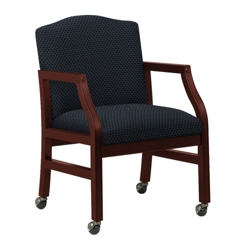 Heavy-Duty Fabric Traditional Guest Chair with Casters, 53357