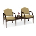 Fabric Traditional Two Guest Chairs with Center Table Set, 53523