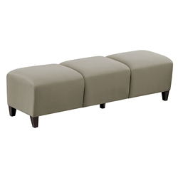 """Parkside Three Seat Bench in Faux Leather or Fabric - 43""""W, 53626"""