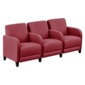 "Parkside Three Seater with Center Arms in Faux Leather or Fabric - 75.5""W, 53630"