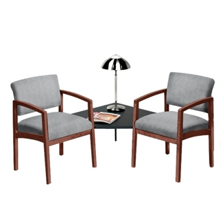 Designer Upholstery Two Chairs with Corner Table Set, 53678