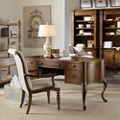 Writing Desk with Bonded Leather Inlay and Bookcase Wall, 10174