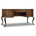 "Half Pedestal Writing Desk with Bonded Leather Inlay - 60.5""W, 14388"