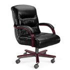Leather Mid Back Chair on Wheels, 55196