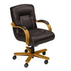 Leather Mid Back Chair on Wheels, 55448