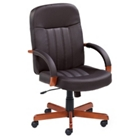Executive Leather Chair with Wood Accents, 55553