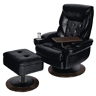 Kingston Leather Recliner and Ottoman, 55585