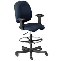 Ergonomic Stool with Arms in Designer Fabric, 56523