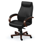 High-Back Executive Leather Chair with Wood Frame, 56853S