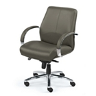 Mid-Back Leather Chair with Chrome Frame, 56855S