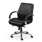 Mid-Back Leather Chair with Chrome Frame, 56855