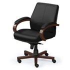 Mid-Back Leather Chair with Wood Frame, 56856