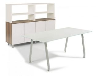 """72""""W Glass Desk with Storage, 14649"""