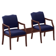 Spencer Two Chairs in Solid Fabric with Square Table, 75008