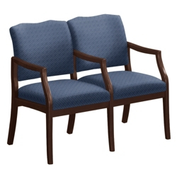 Spencer Two Seater with Center Arm in Print Fabric or Vinyl, 75015