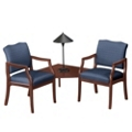 Spencer Two Chairs with Corner Table in Print Fabric or Vinyl, 75019