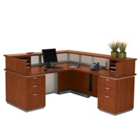 Frosted Glass Panel Reception Desk with Right Return, 75335