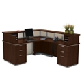 Frosted Glass Panel Reception Desk with Right Return - Ready to Assemble, 75335