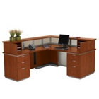 Frosted Glass Panel Reception Desk with Left Return, 75336