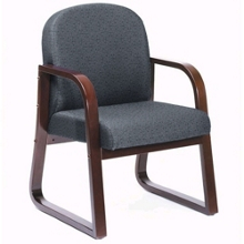 Sled Base Reception Chair with Mahogany Frame, 75384