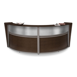 "Marque Double Reception Station with Plexi - 124.25""W x 49""D, 75392"