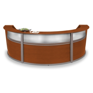 "Marque Three Piece Reception Station with Plexi - 142""W x 71""D, 75393"
