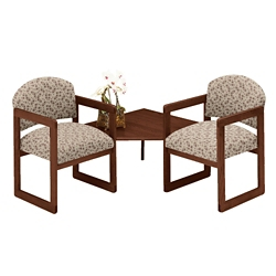 Premium Upholstered Two Chairs with Corner Table, 75417