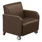 Oversized Vinyl Club Chair with Casters, 75448