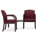 Two Fabric Guest Chairs with Corner Table, 75505