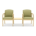 Two Vinyl Guest Chairs with Center Table, 75515
