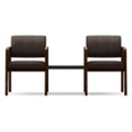 Two Panel-Arm Guest Chairs with Connecting Center Table Set in Fabric, 75527