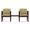 Two Vinyl Guest Chairs with Connecting Center Table Set, 75572